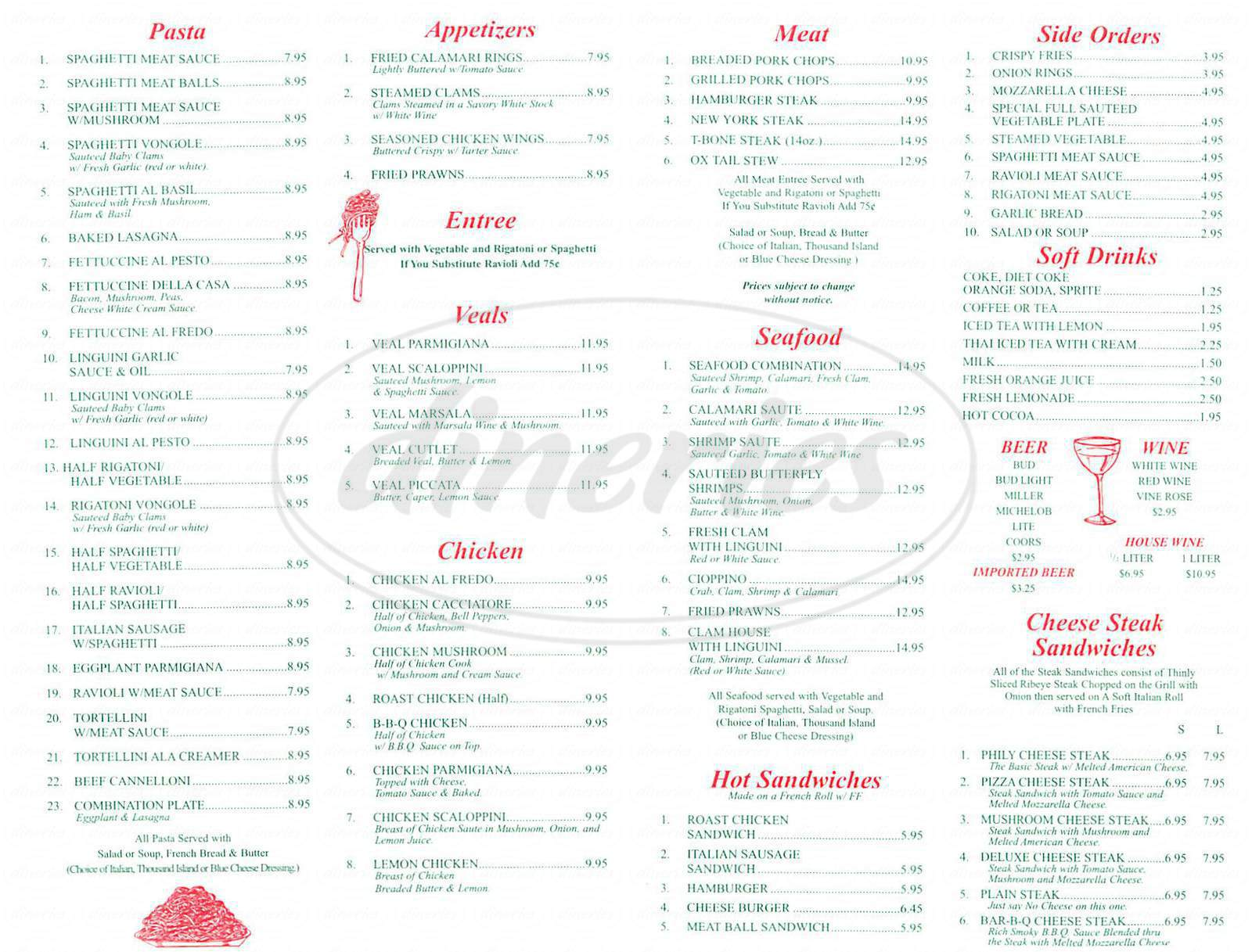 menu for Little Henry's