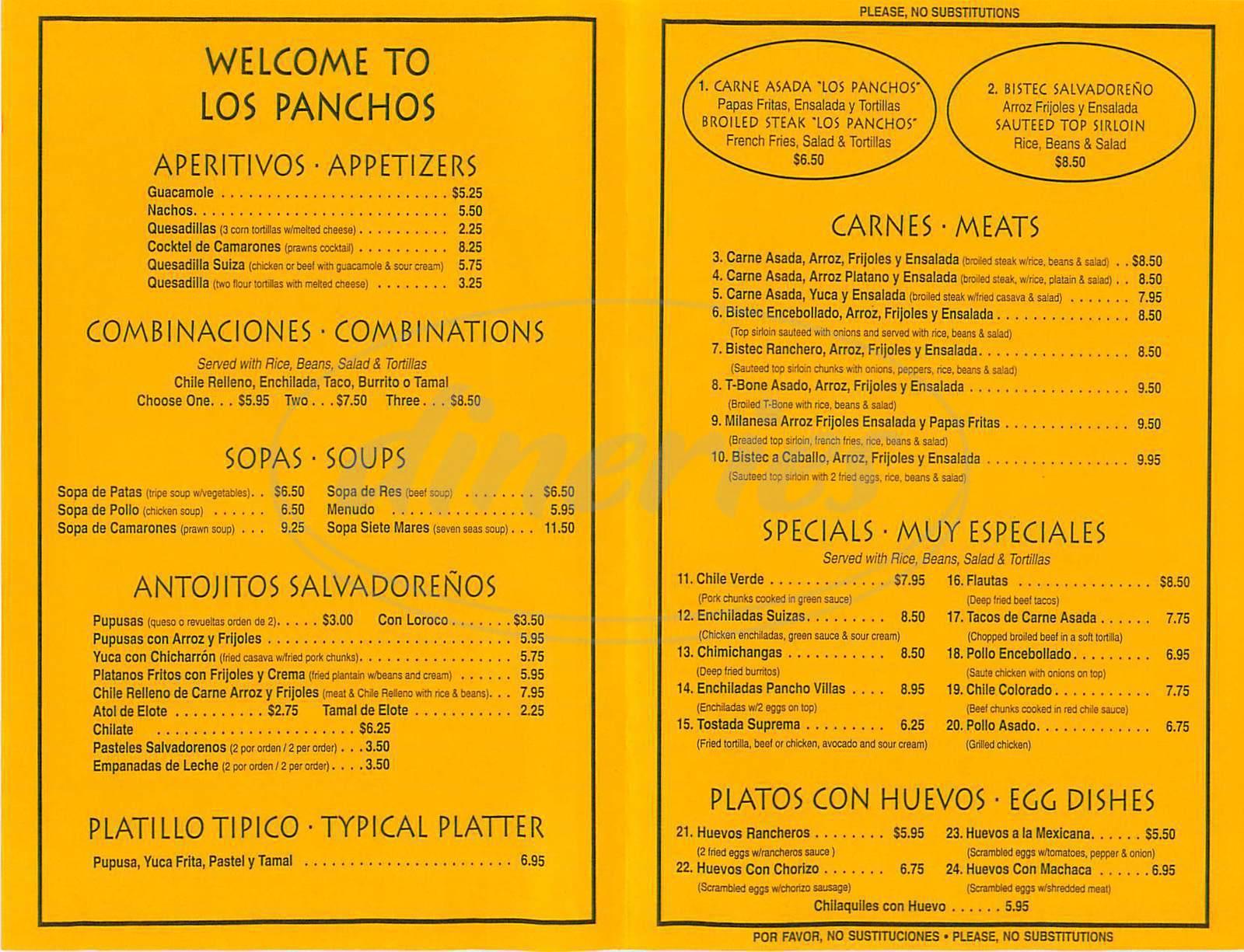 menu for Los Panchos