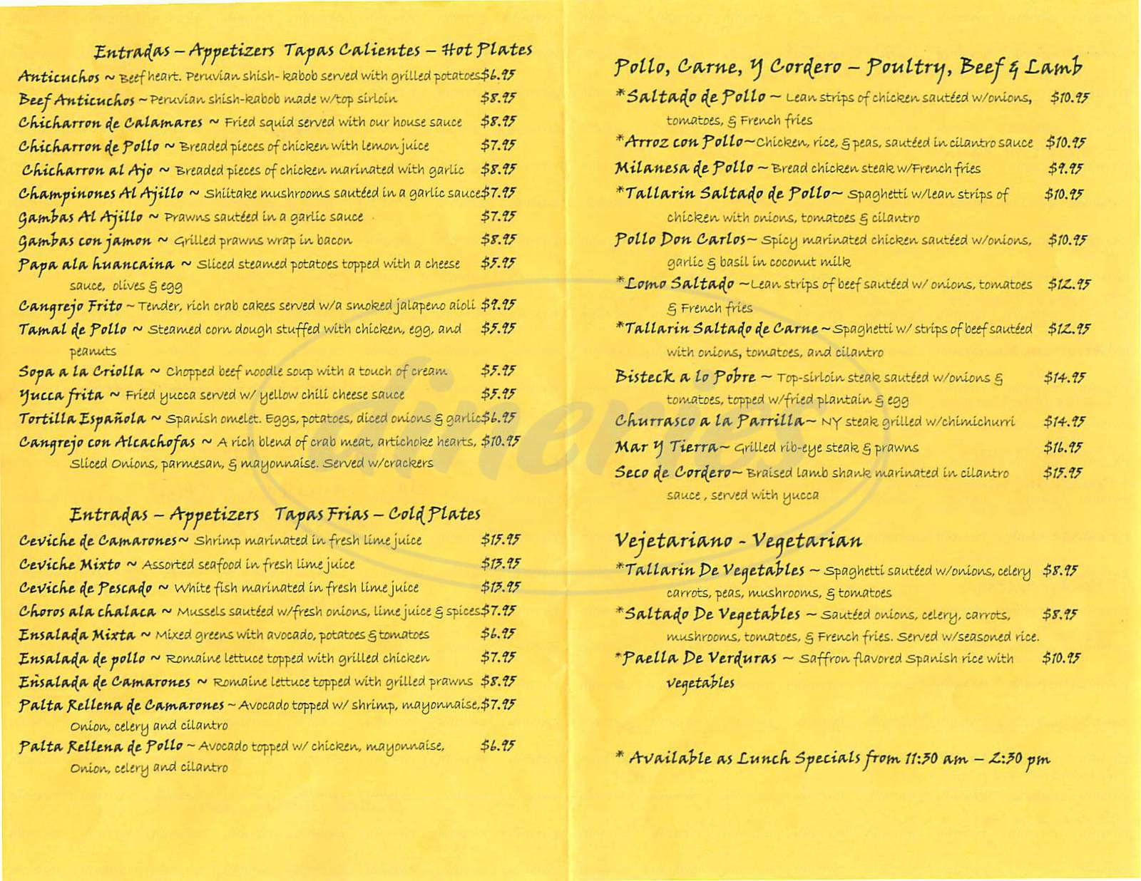 menu for Mi Lindo Peru