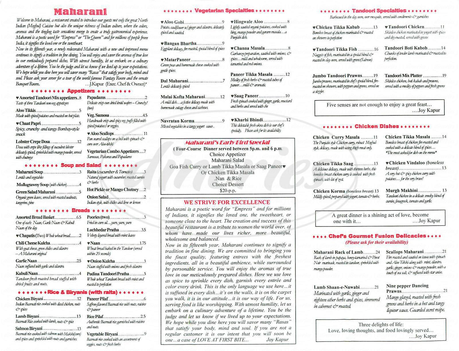 menu for Maharani