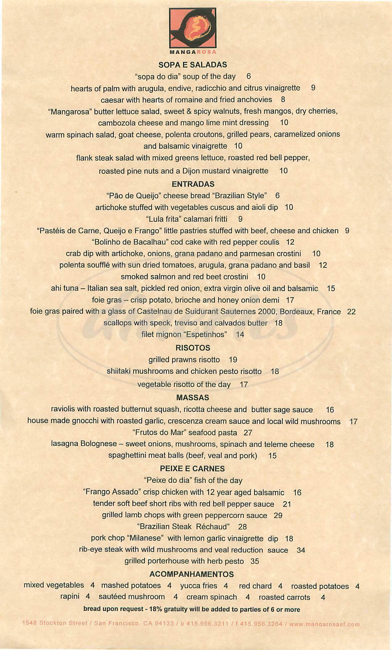 menu for Mangarosa