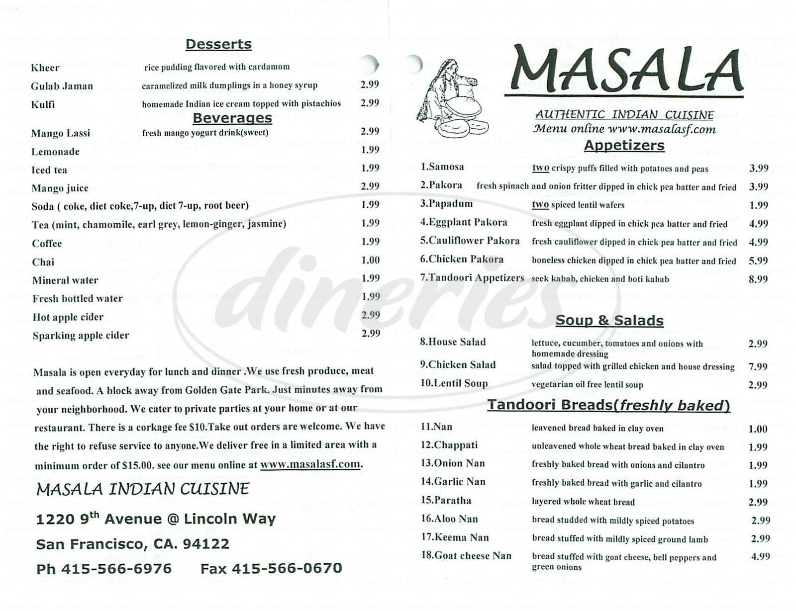 menu for Masala Indian Cuisine