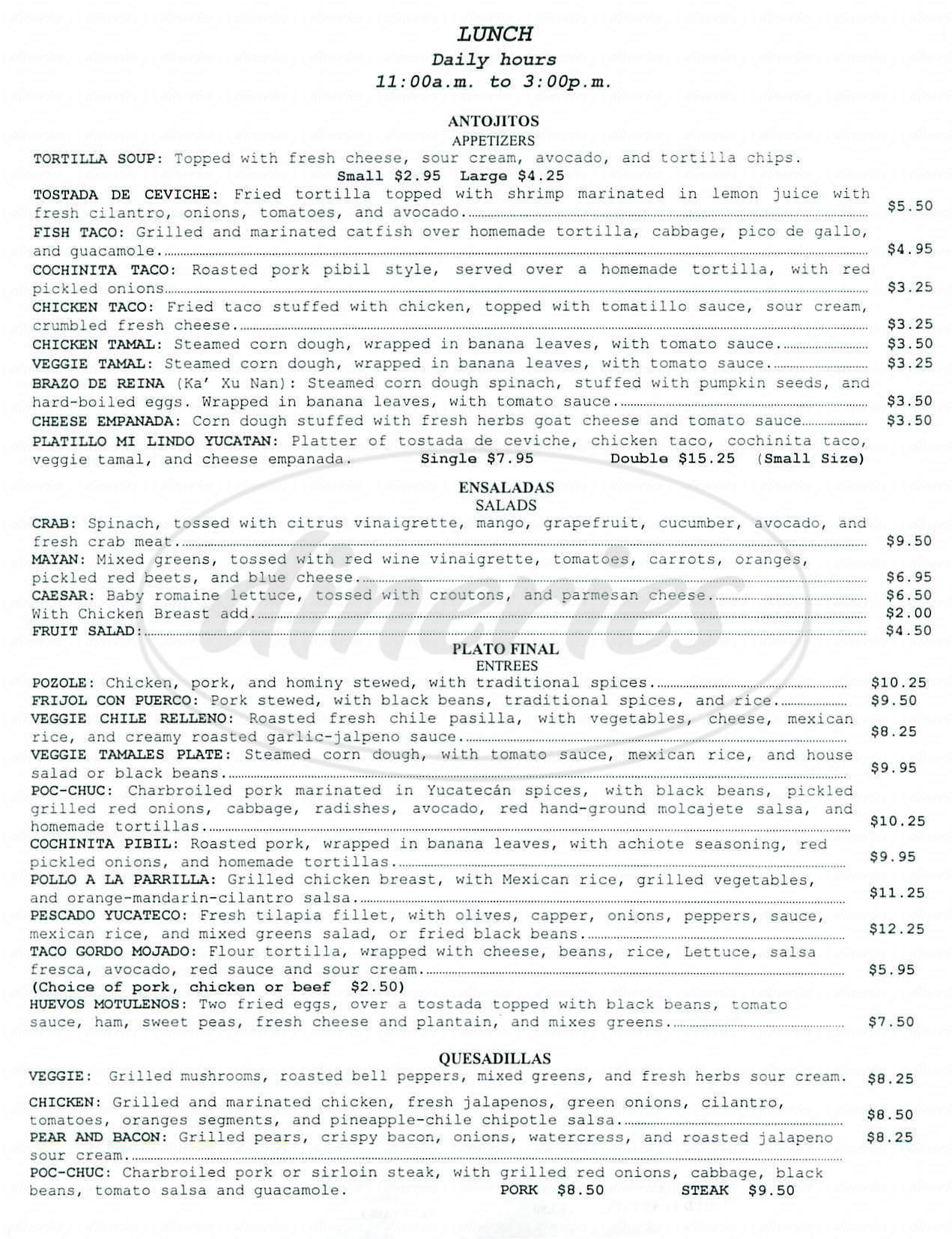 menu for Mi Lindo Yucatan