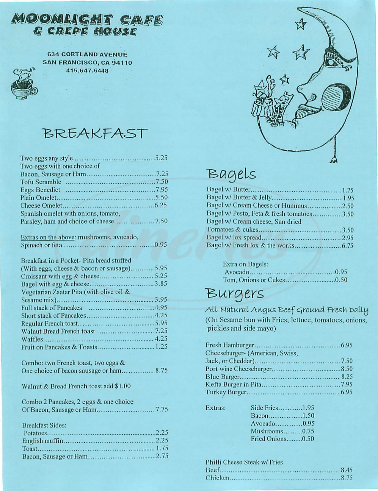 menu for Moonlight Cafe & Crepe House