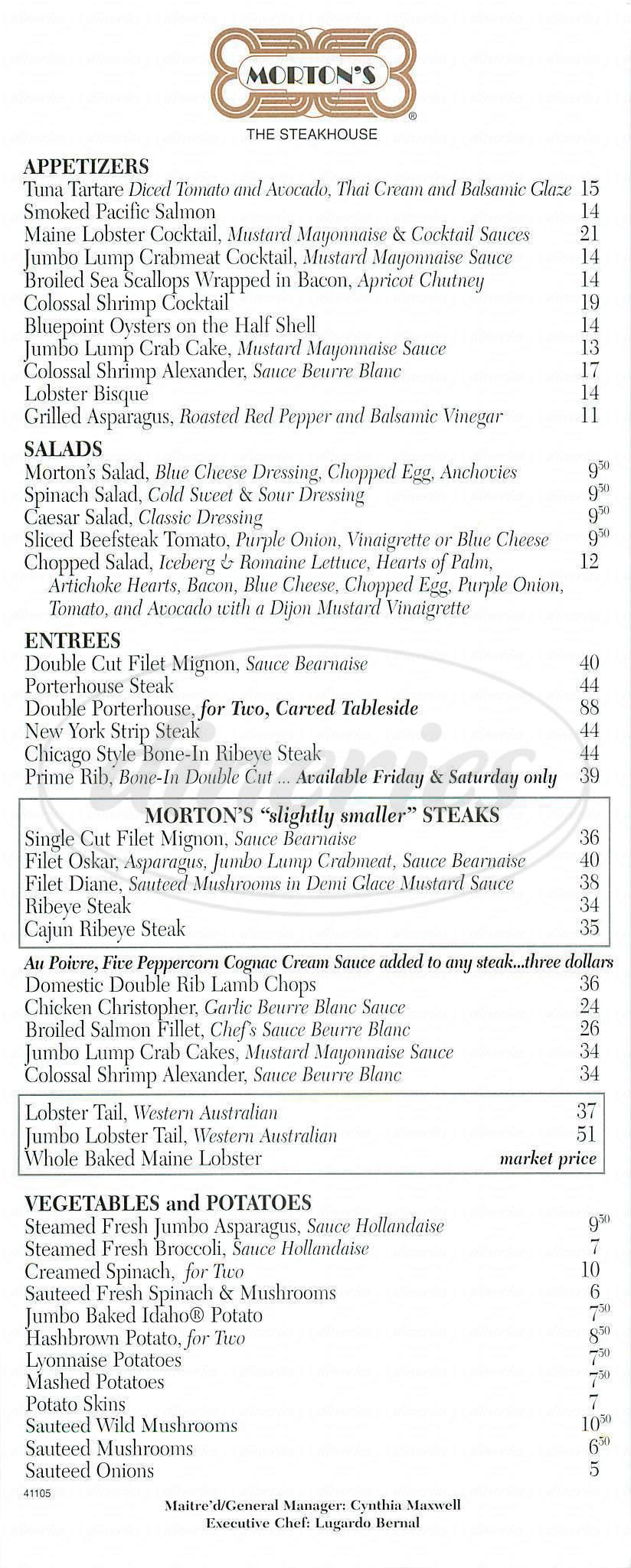 menu for Morton's