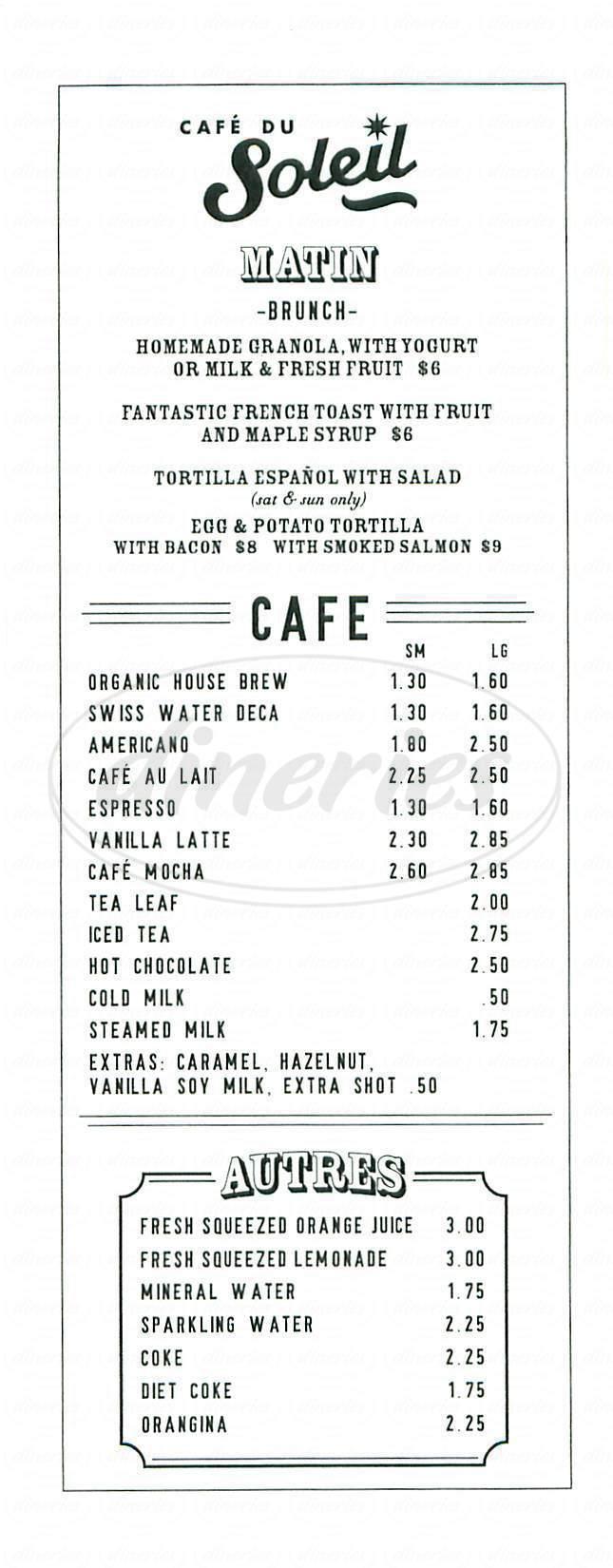 menu for Café du Soleil