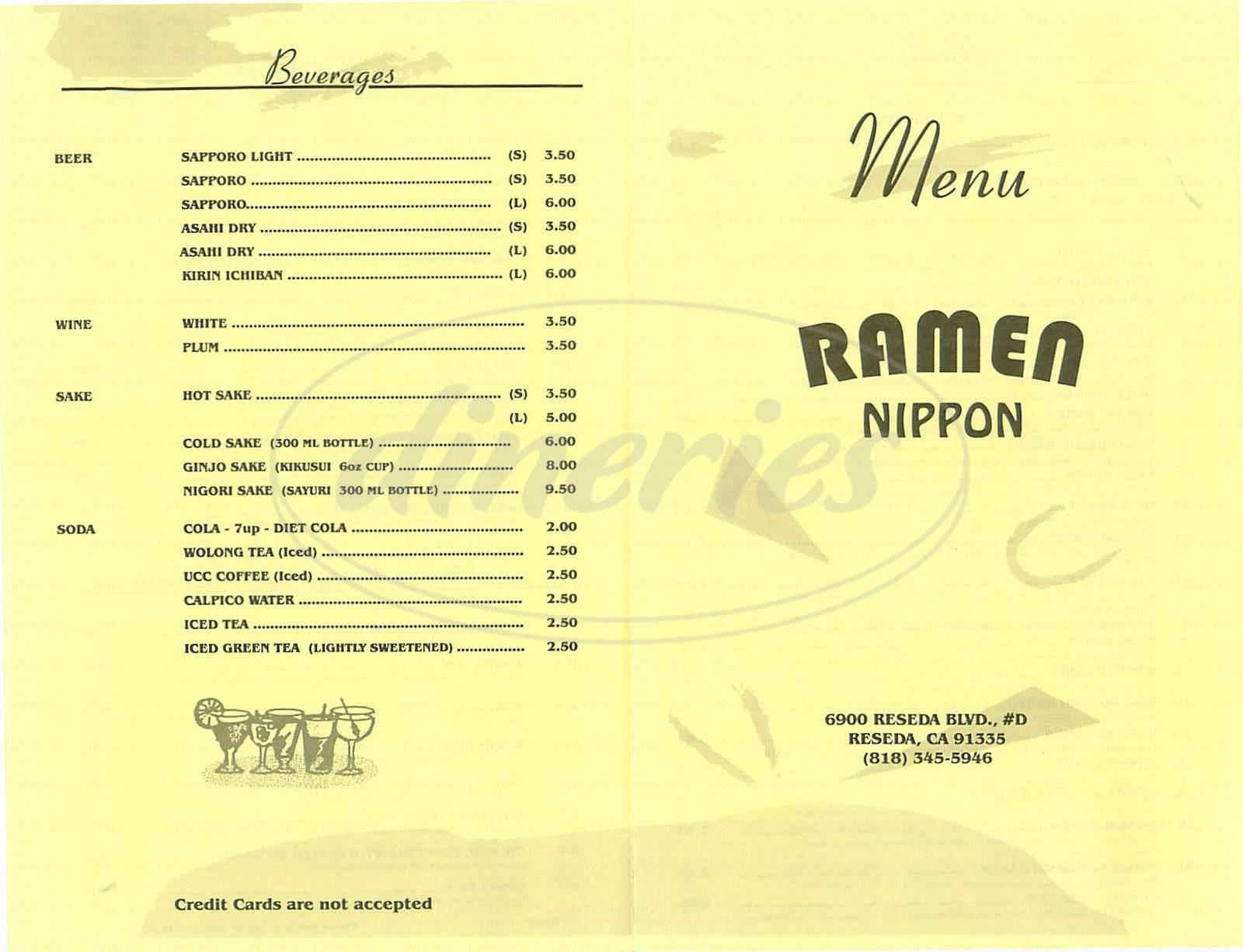 menu for Ramen Nippon