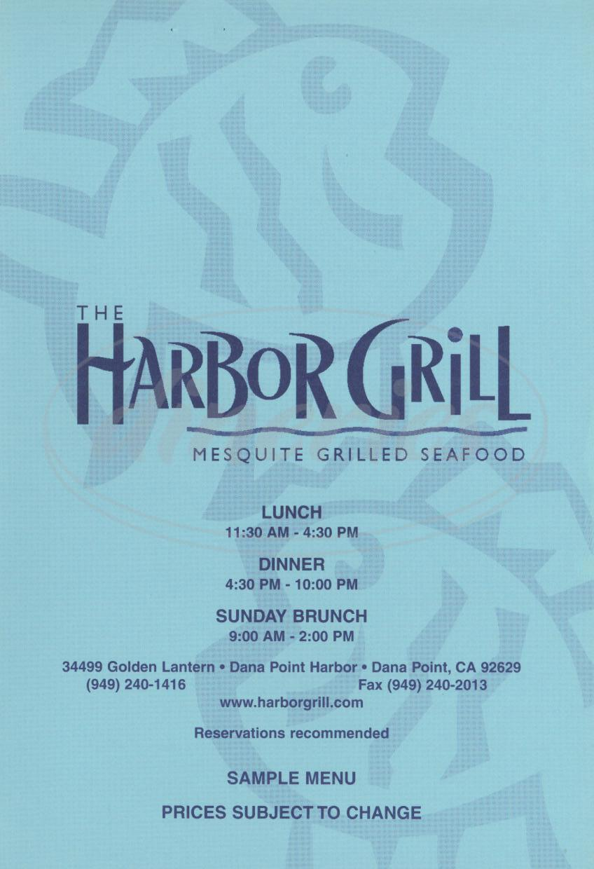 menu for The Harbor Grill