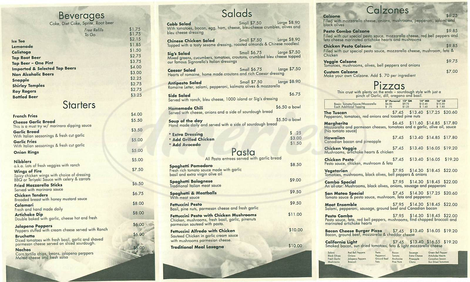 menu for Original Nicks Pizzeria & Pub