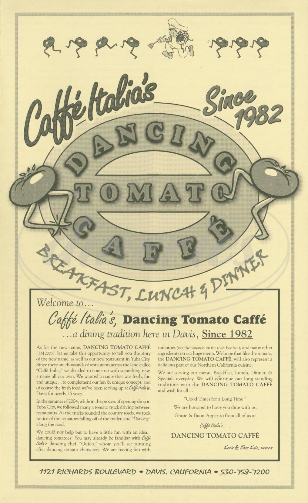 menu for Caffe Italia's Dancing Tomato Caffe
