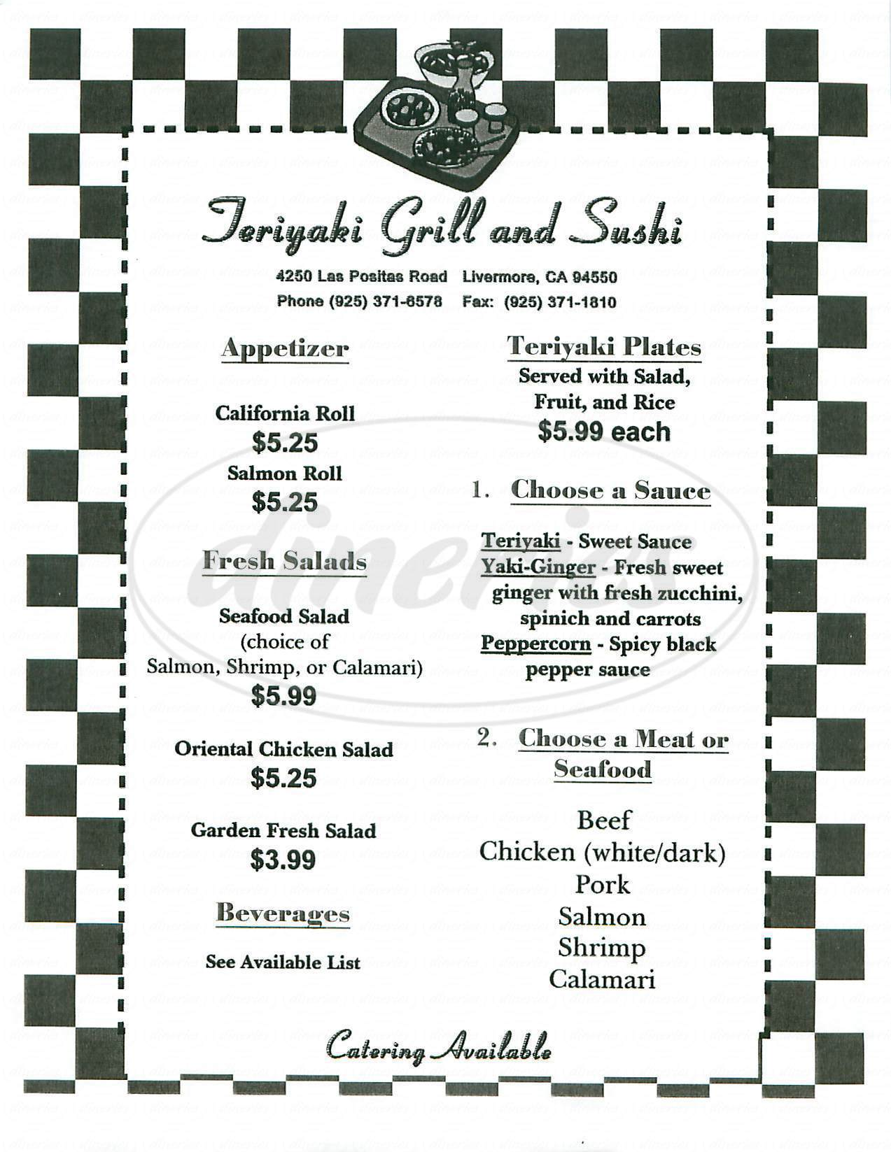 menu for Teriyaki Grill and Sushi