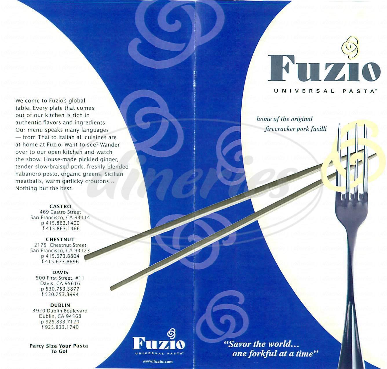 menu for Fuzio