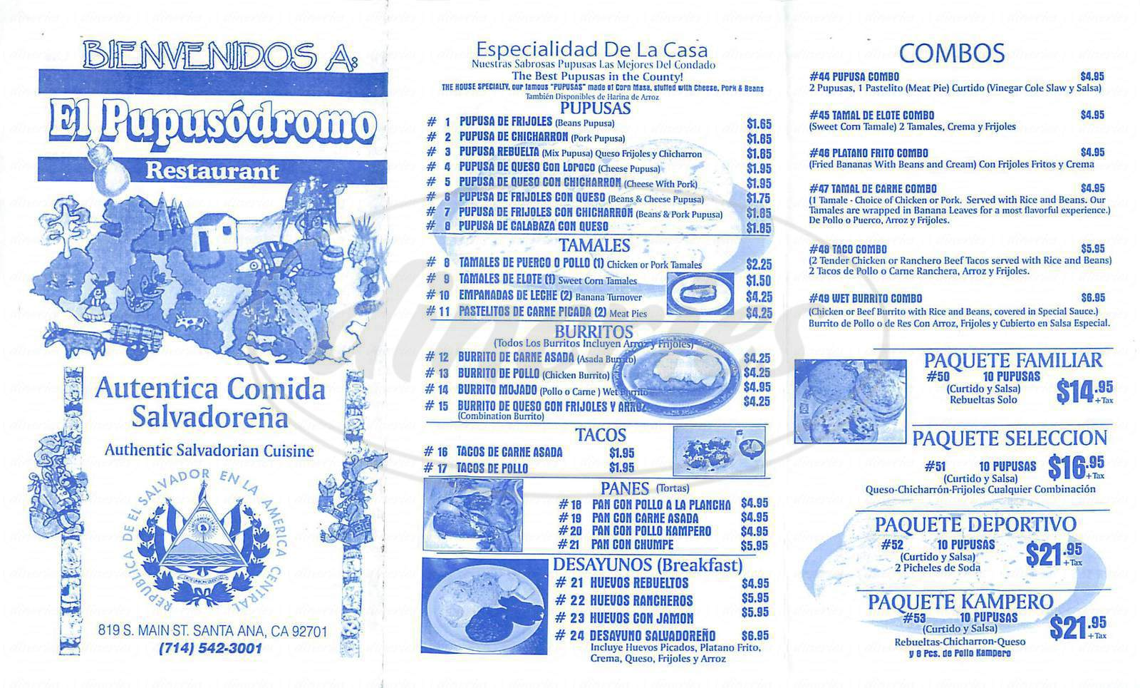 menu for El Pupusodromo