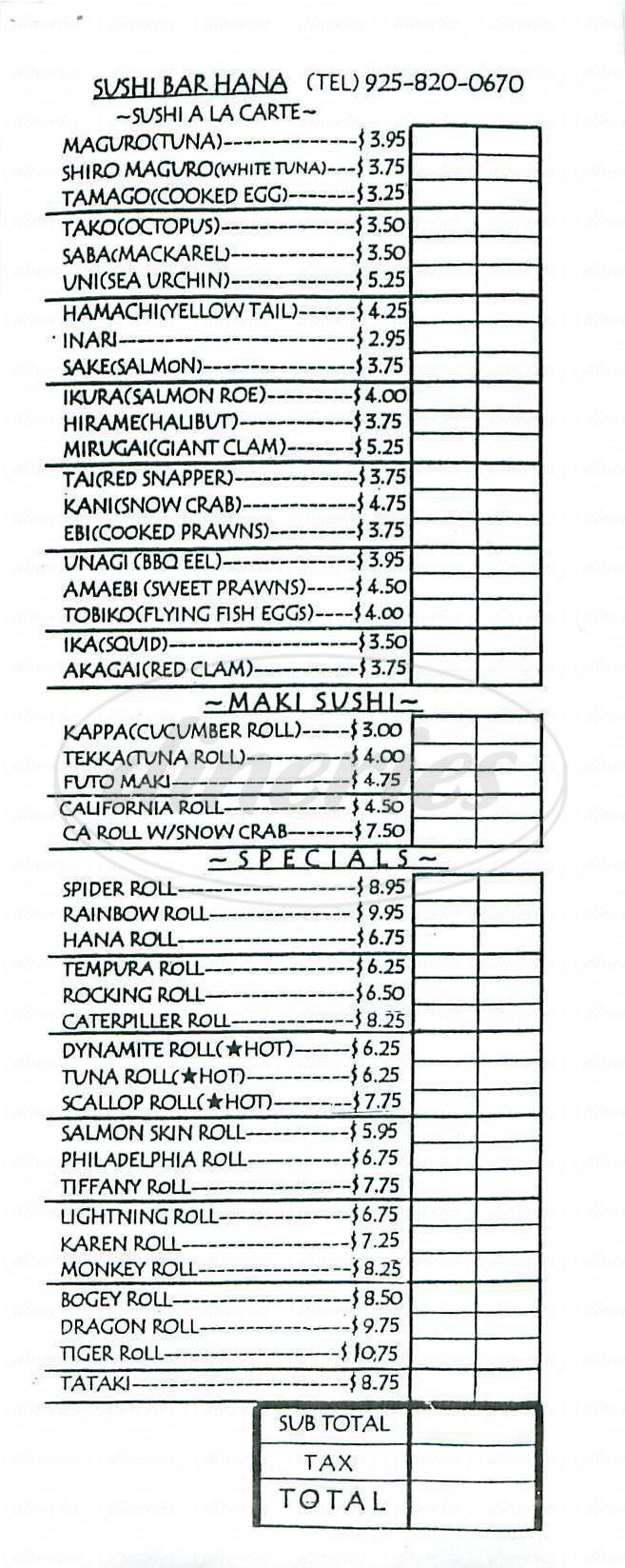 menu for Sushi Bar Hana