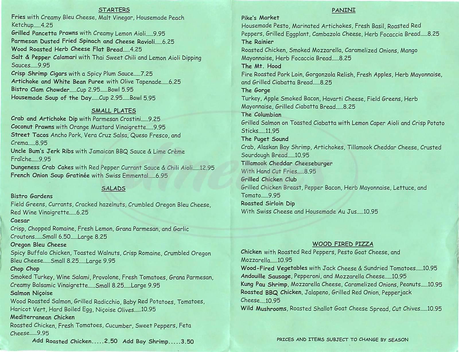 menu for Bistro 33 Davis