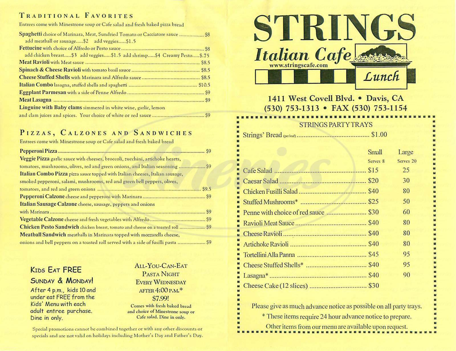 menu for Strings Italian Café