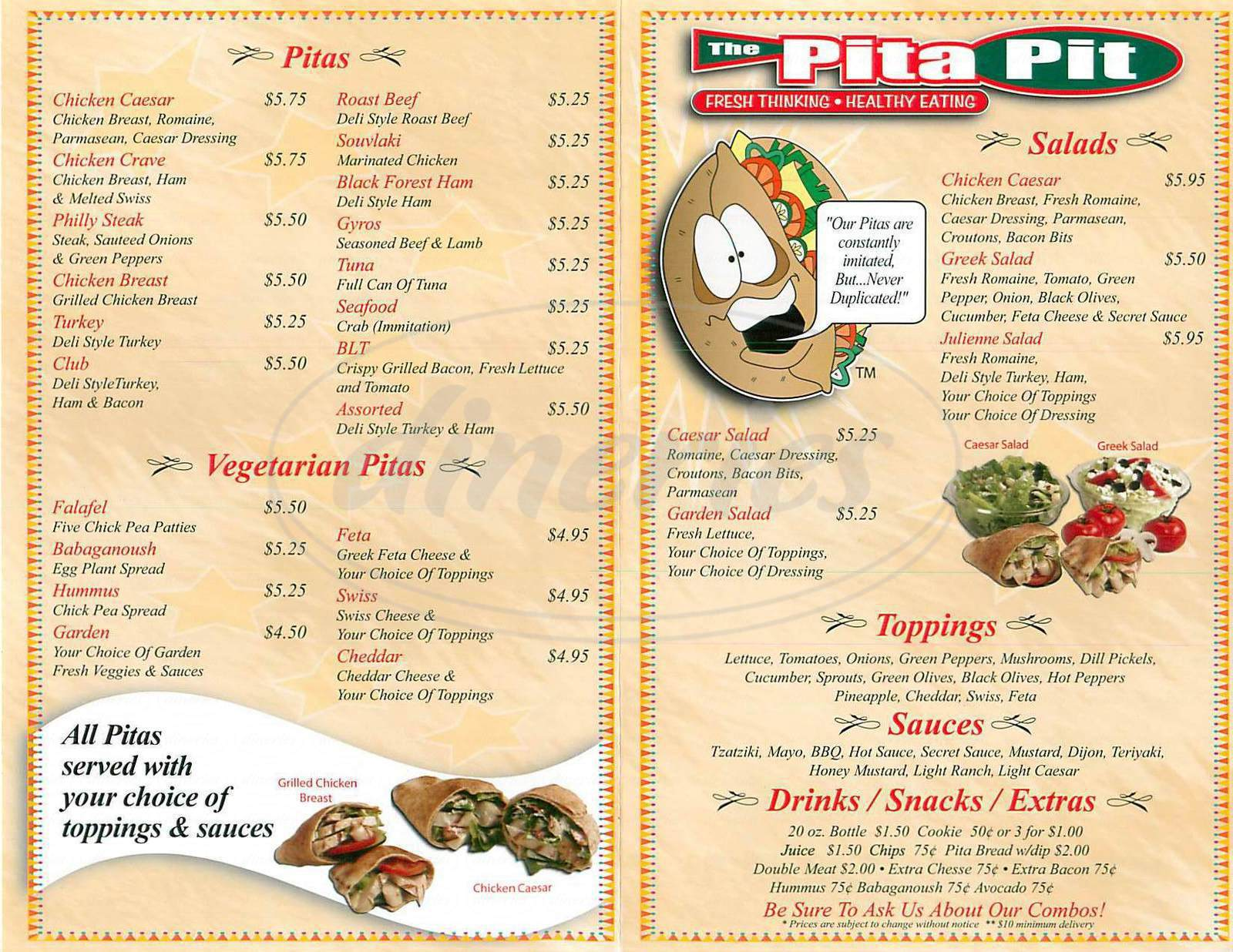 menu for The Pita Pit