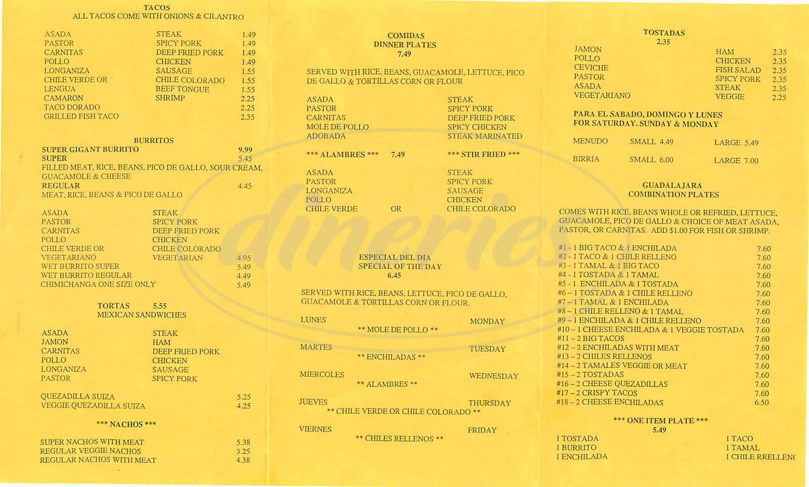 menu for Taqueria Guadalajara No 3