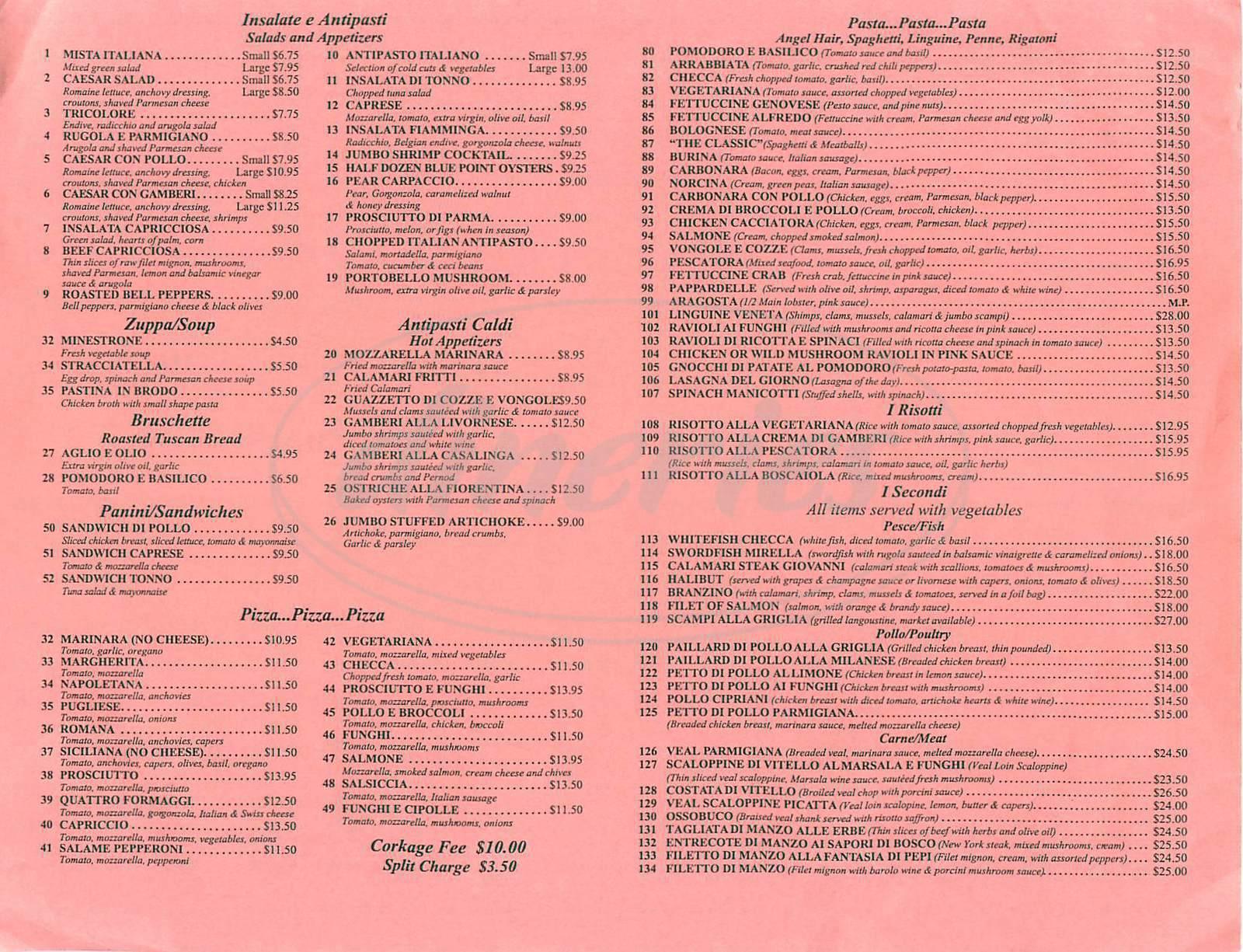 menu for Capriccio Italian Trattoria