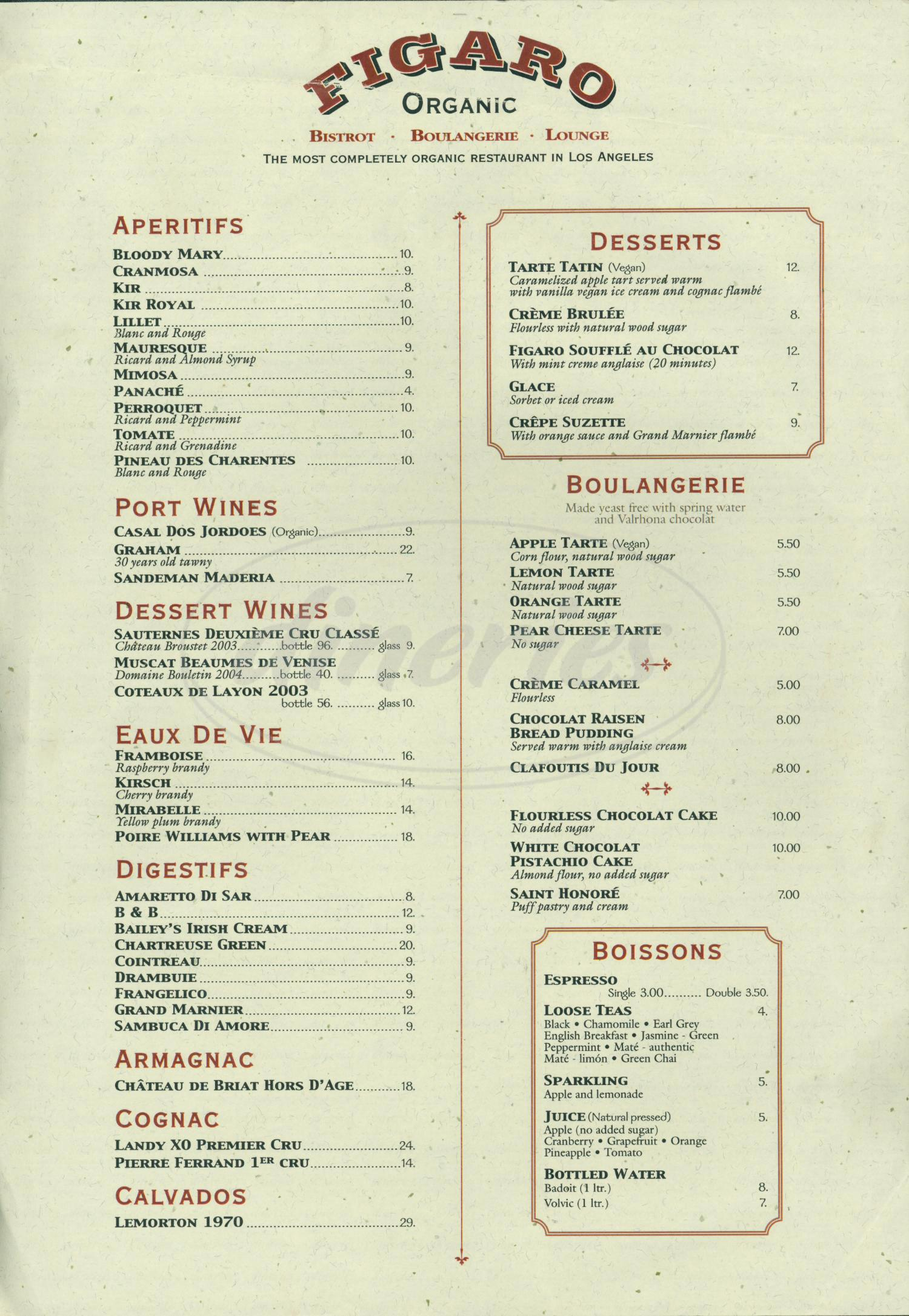 menu for Figaro Café
