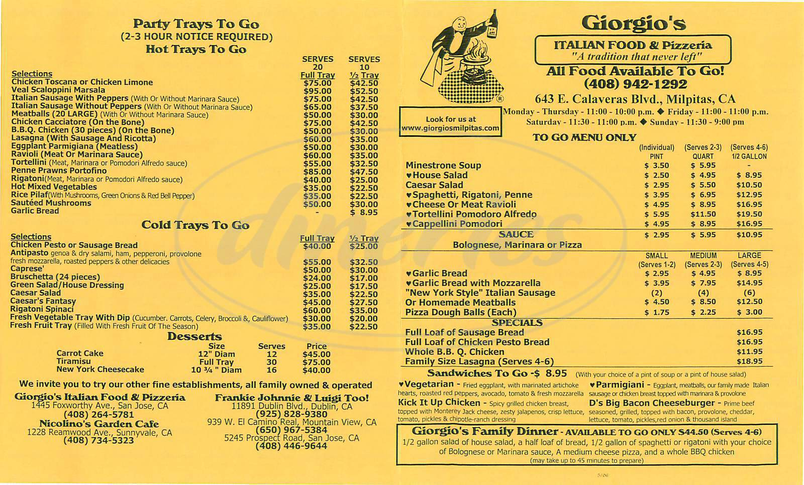 menu for Giorgios Italian Food & Pizzeria