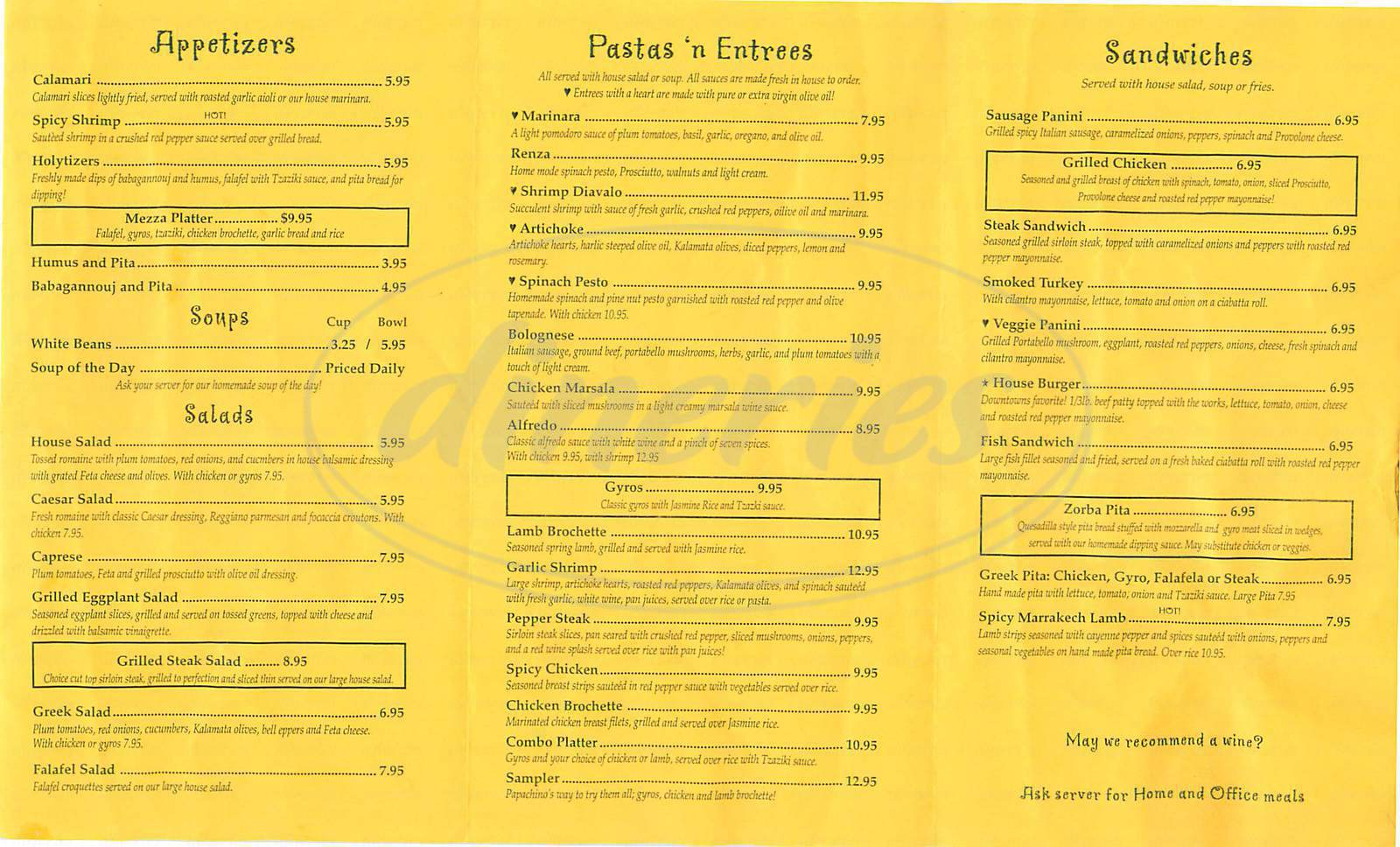 menu for Papachino's