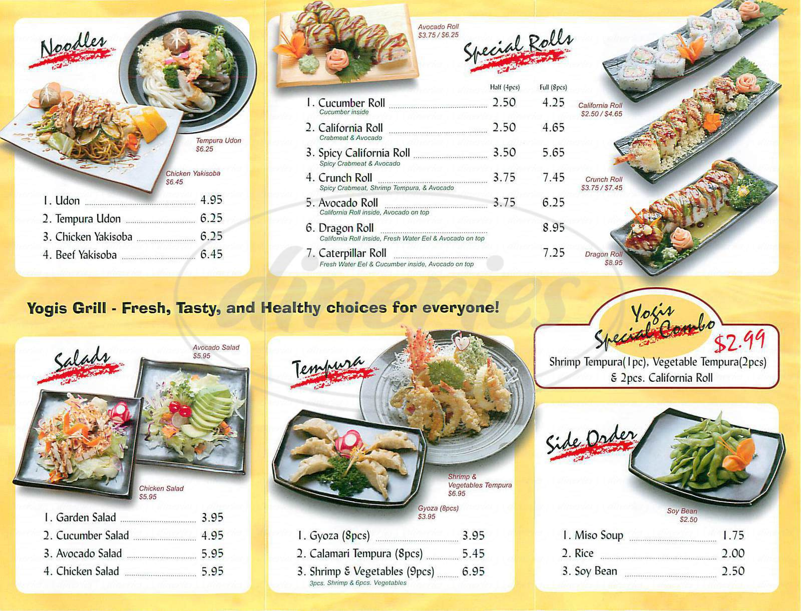menu for Yogis Grill