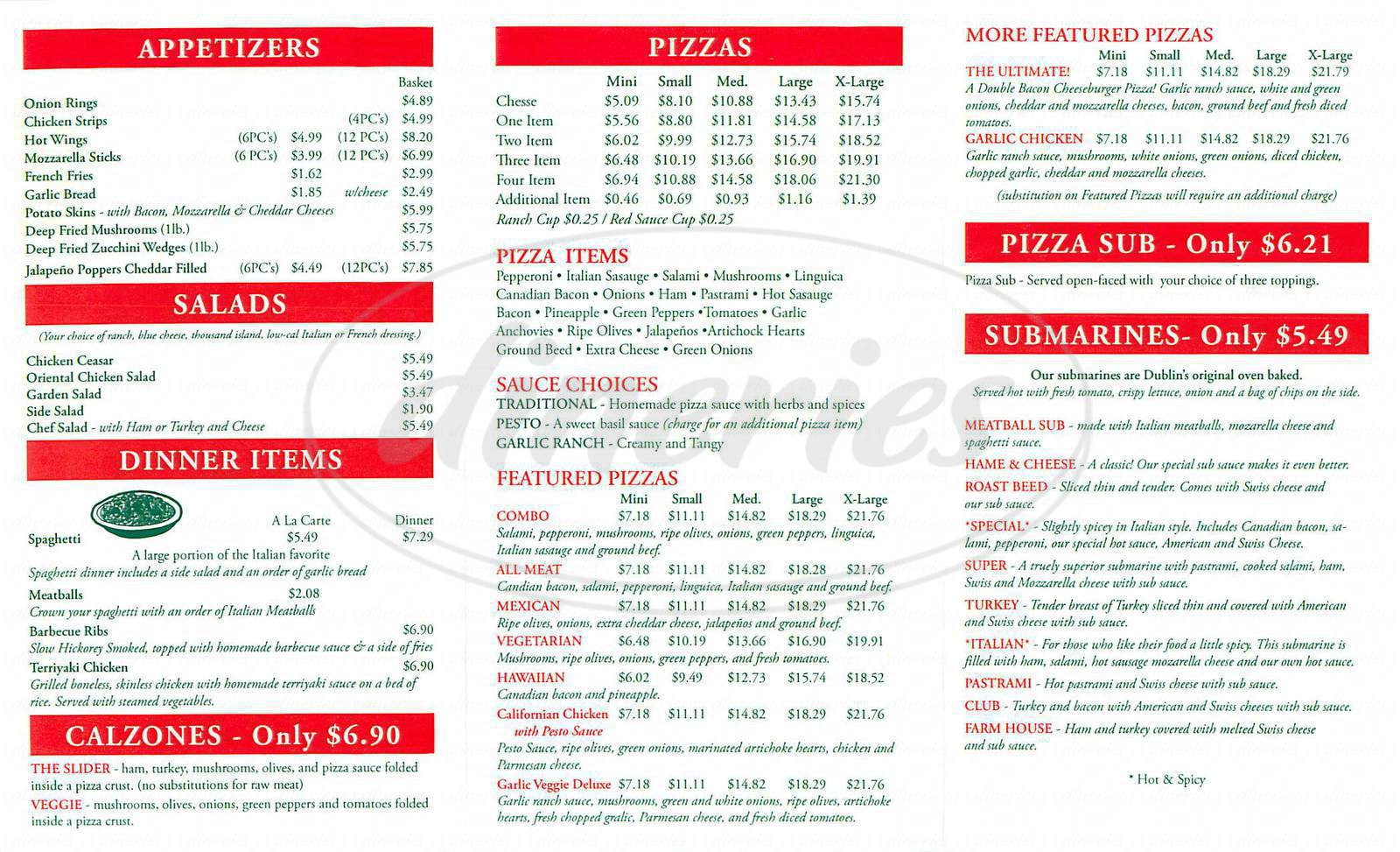 menu for Lucky Pizza
