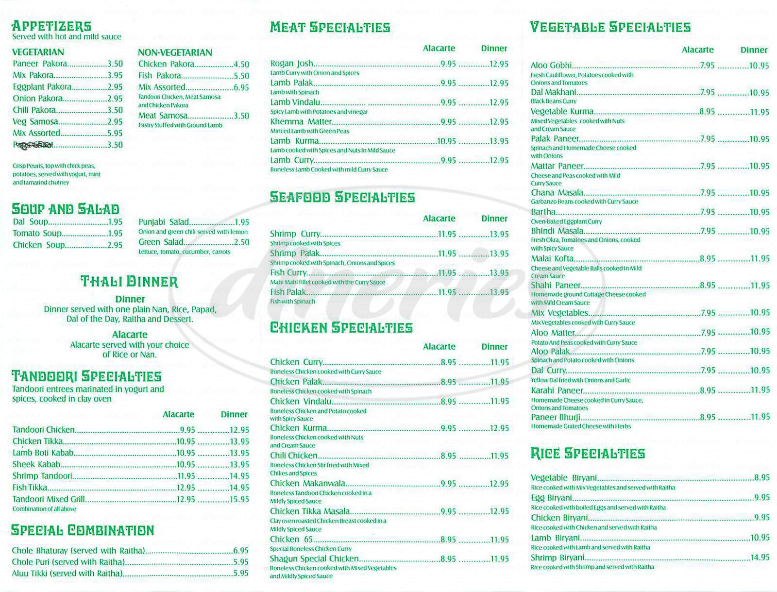 menu for Shagun Indian Cuisine