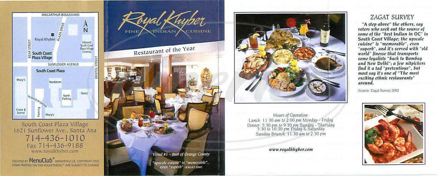 menu for Royal Khyber