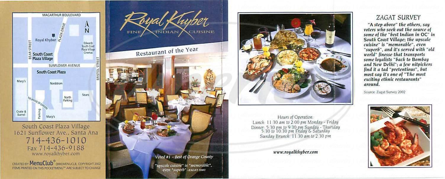 menu for Royal Khyber