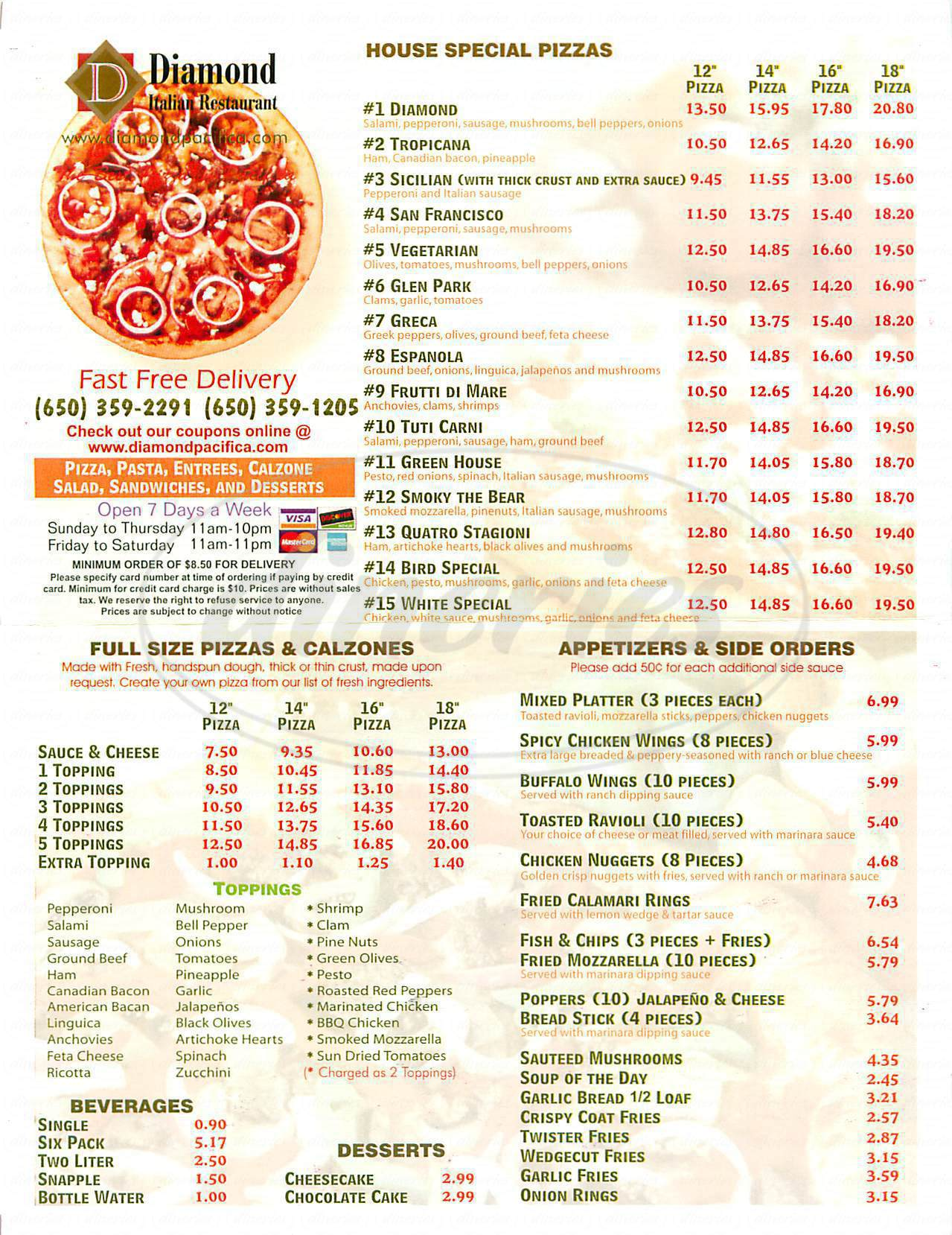 menu for Diamond Italian Restauren