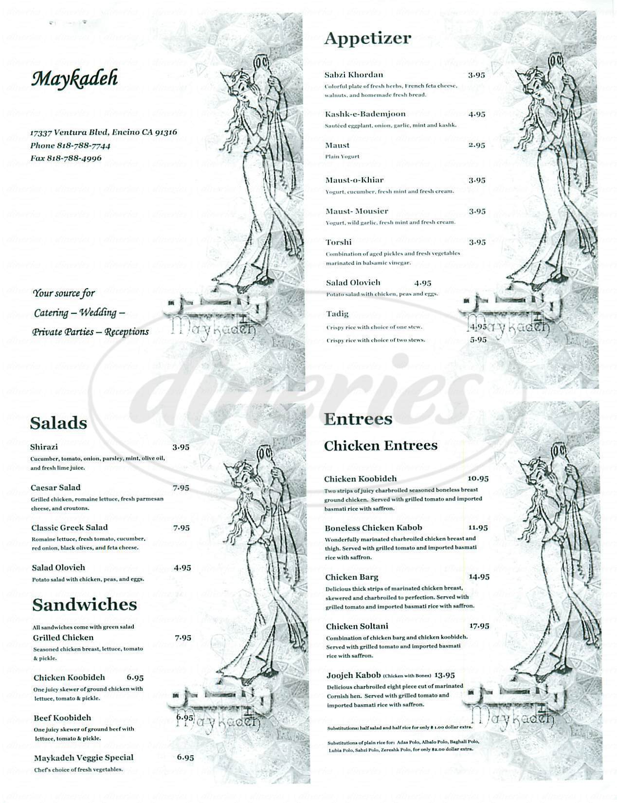 menu for Maykadeh