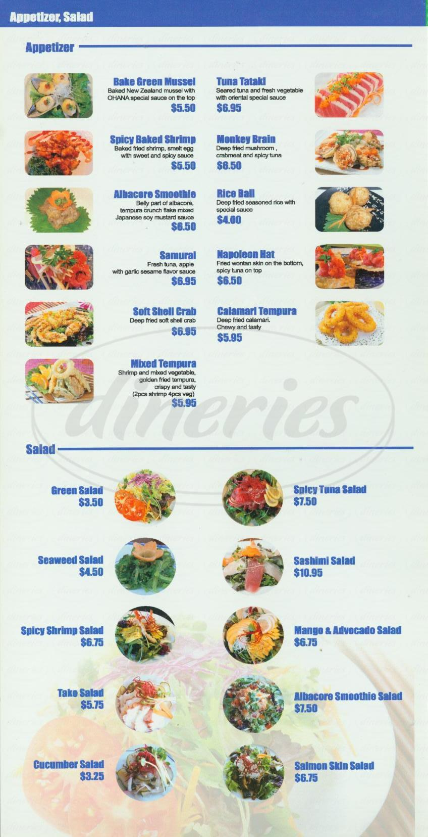 menu for Ohana Japanese Restaurant