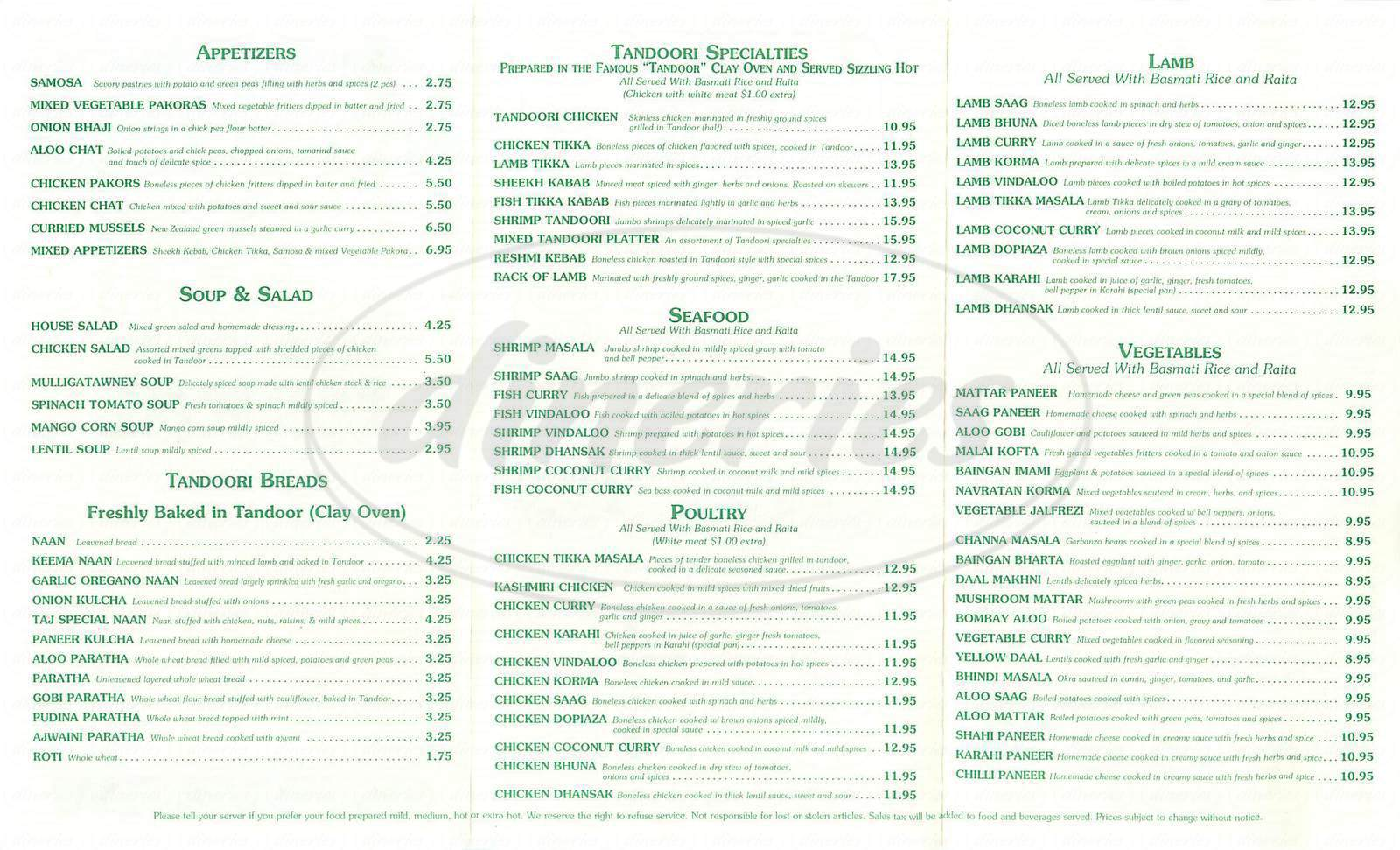menu for Taj Mahal