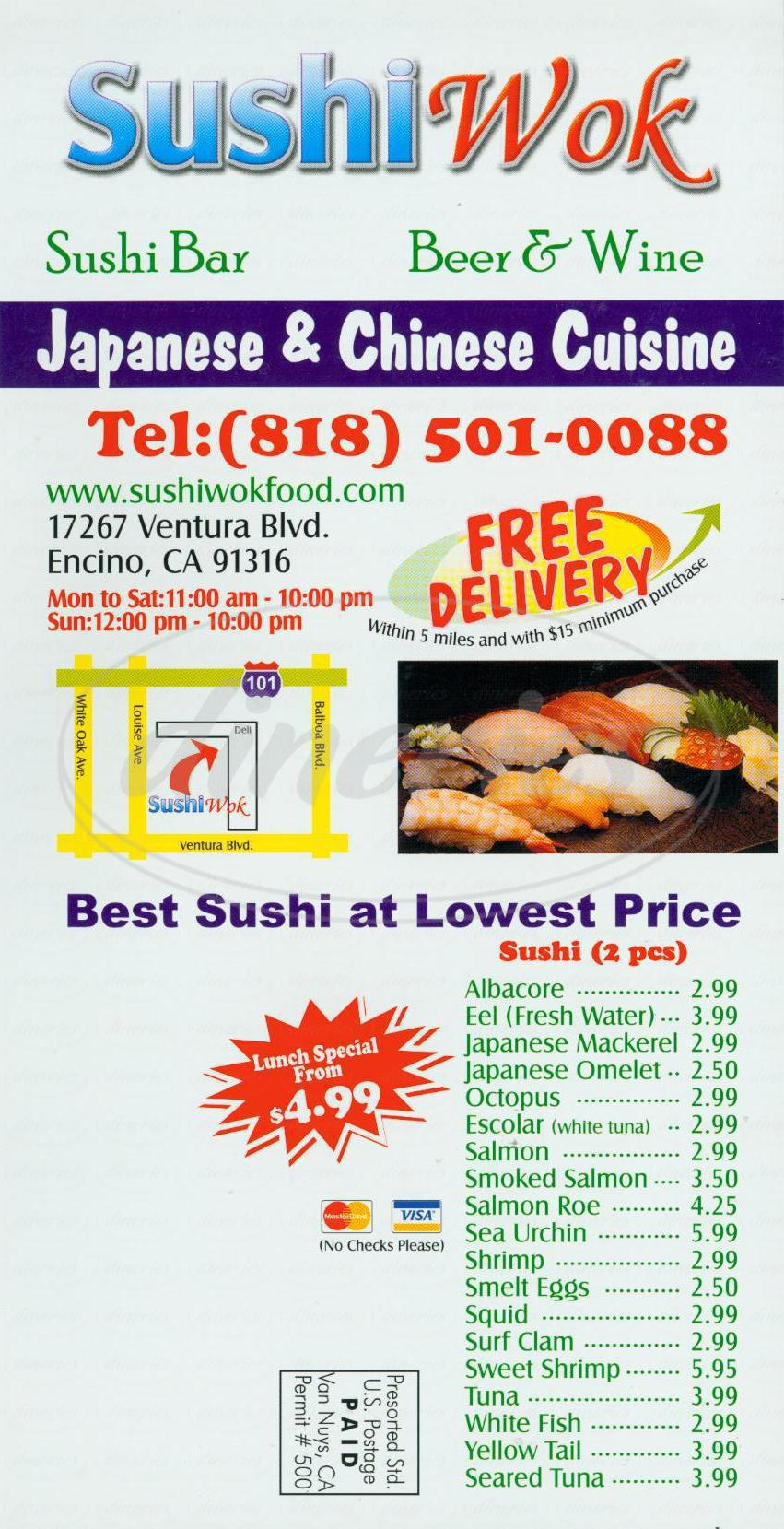 menu for Sushi Wok