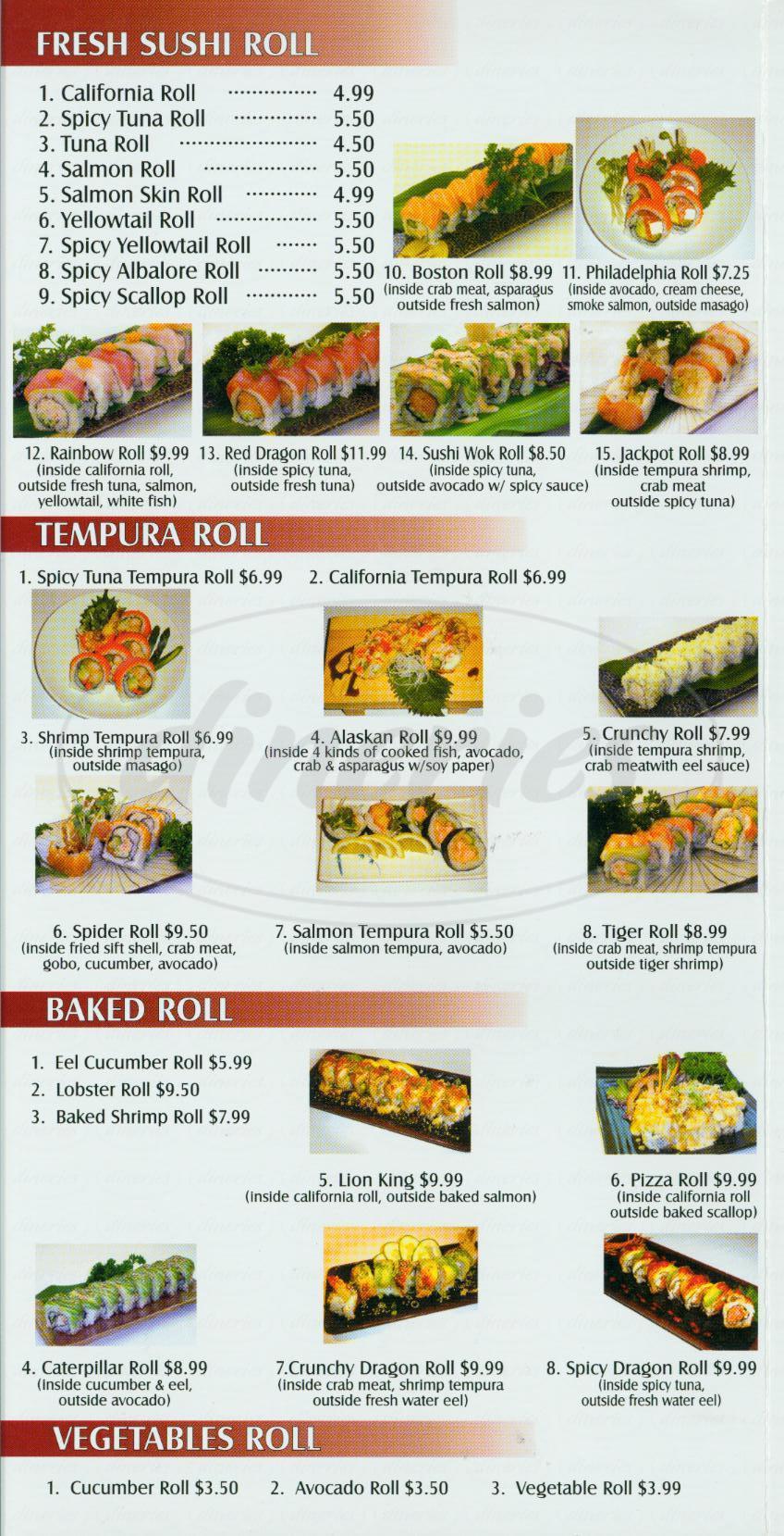 menu for Sushi Wok