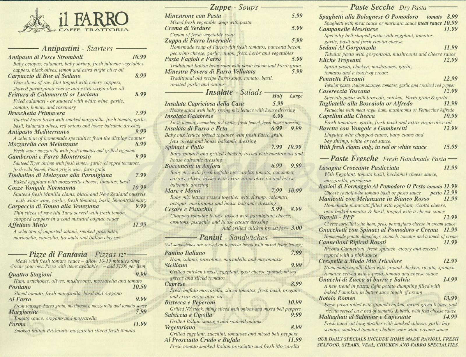 menu for Il Farro