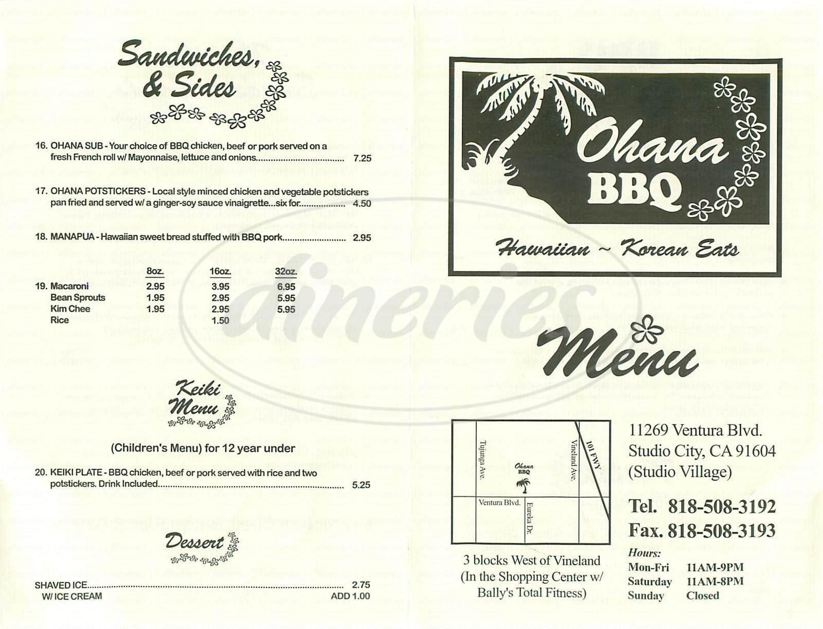 menu for Ohana BBQ