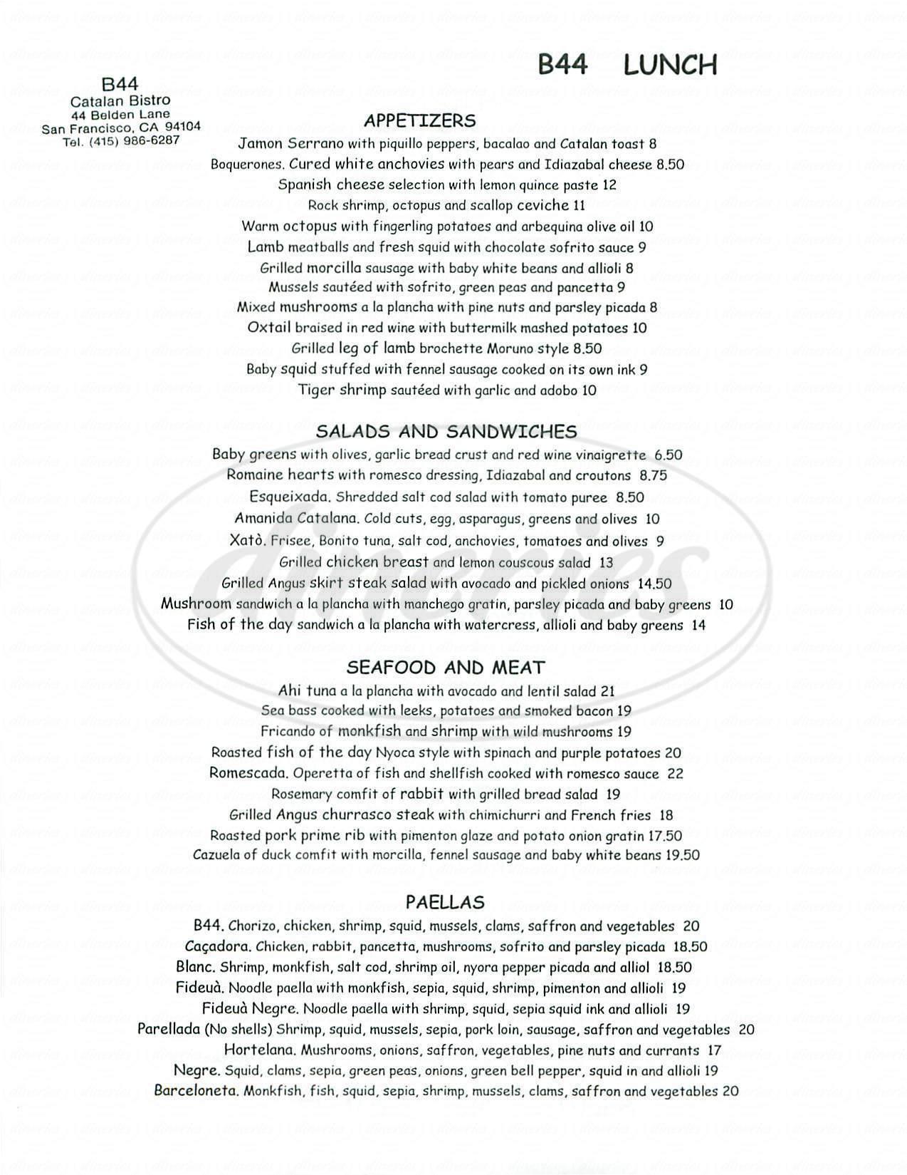 menu for B44