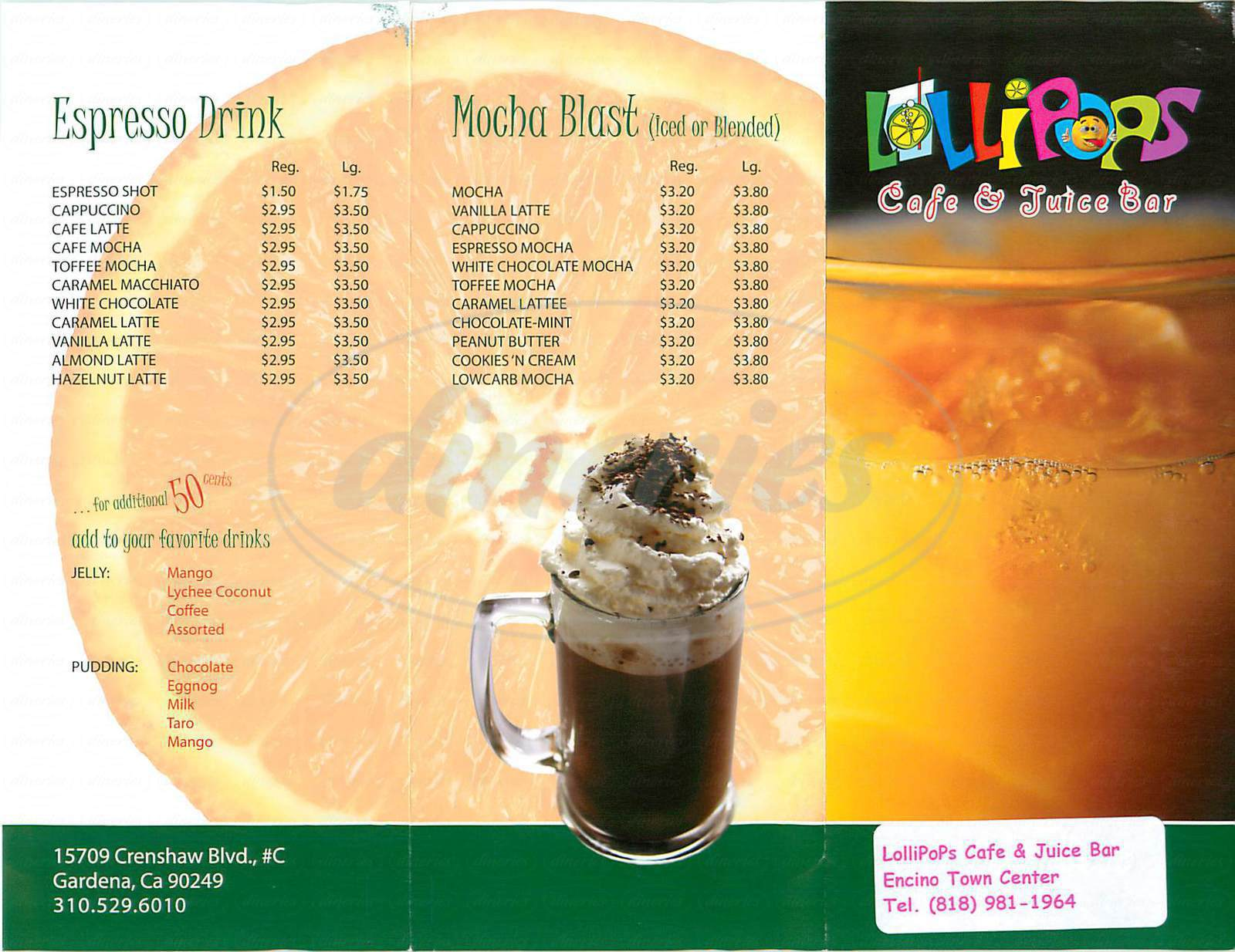 menu for Lollipops Café & Juice Bar