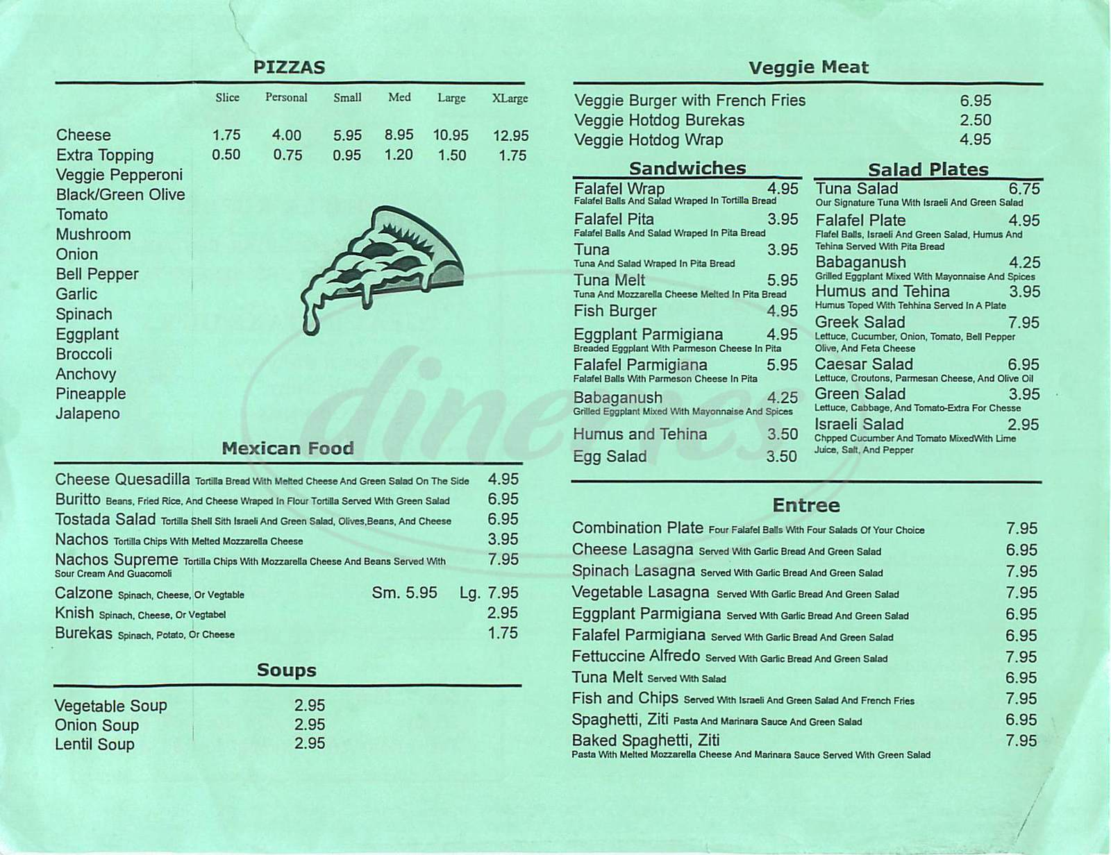 Big menu for Jerusalem Pizza, Encino