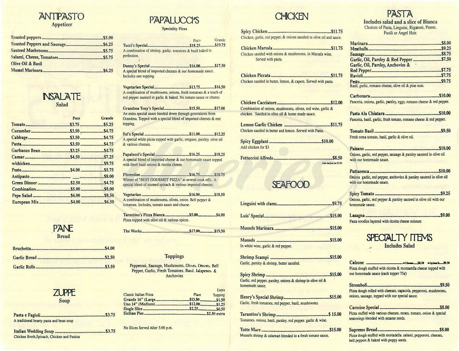 menu for Papalucci's