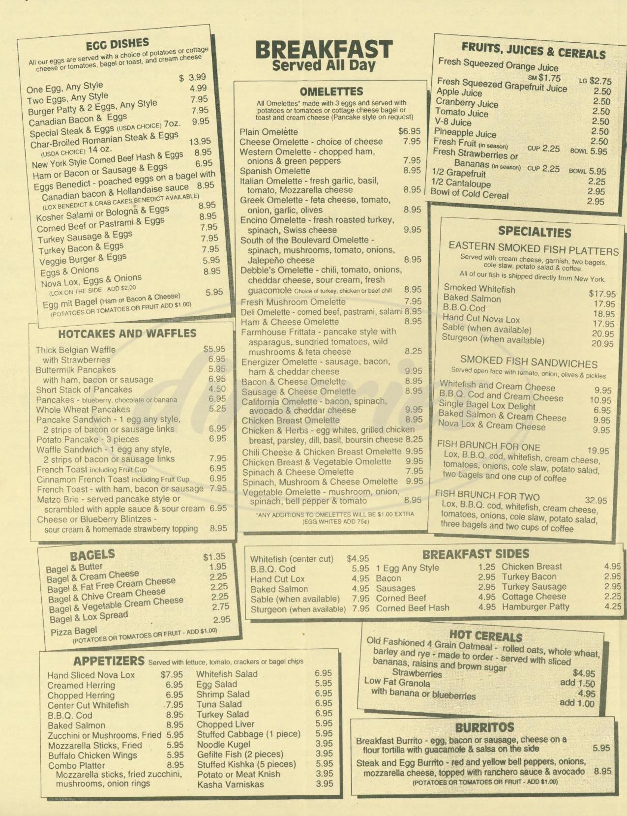 menu for Encino Deli & Restaurant