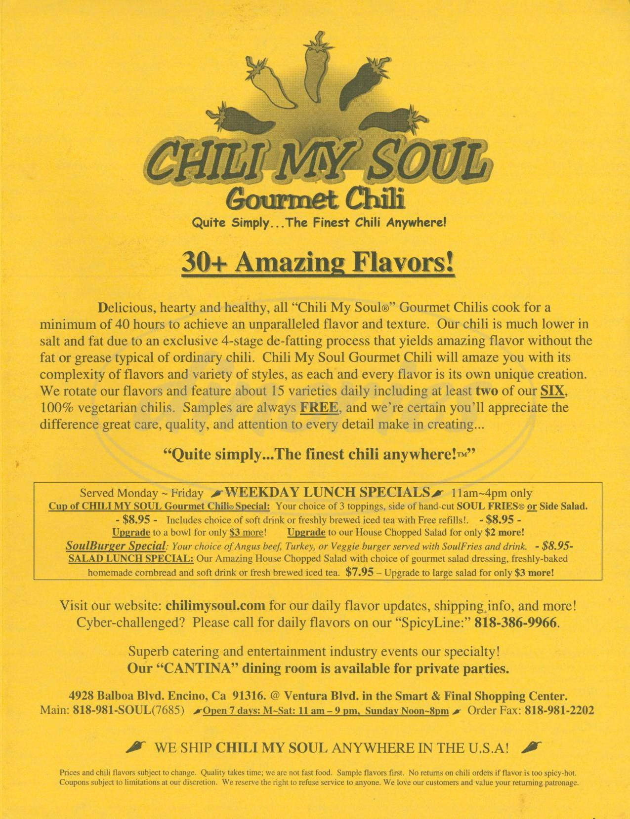 menu for Chili My Soul