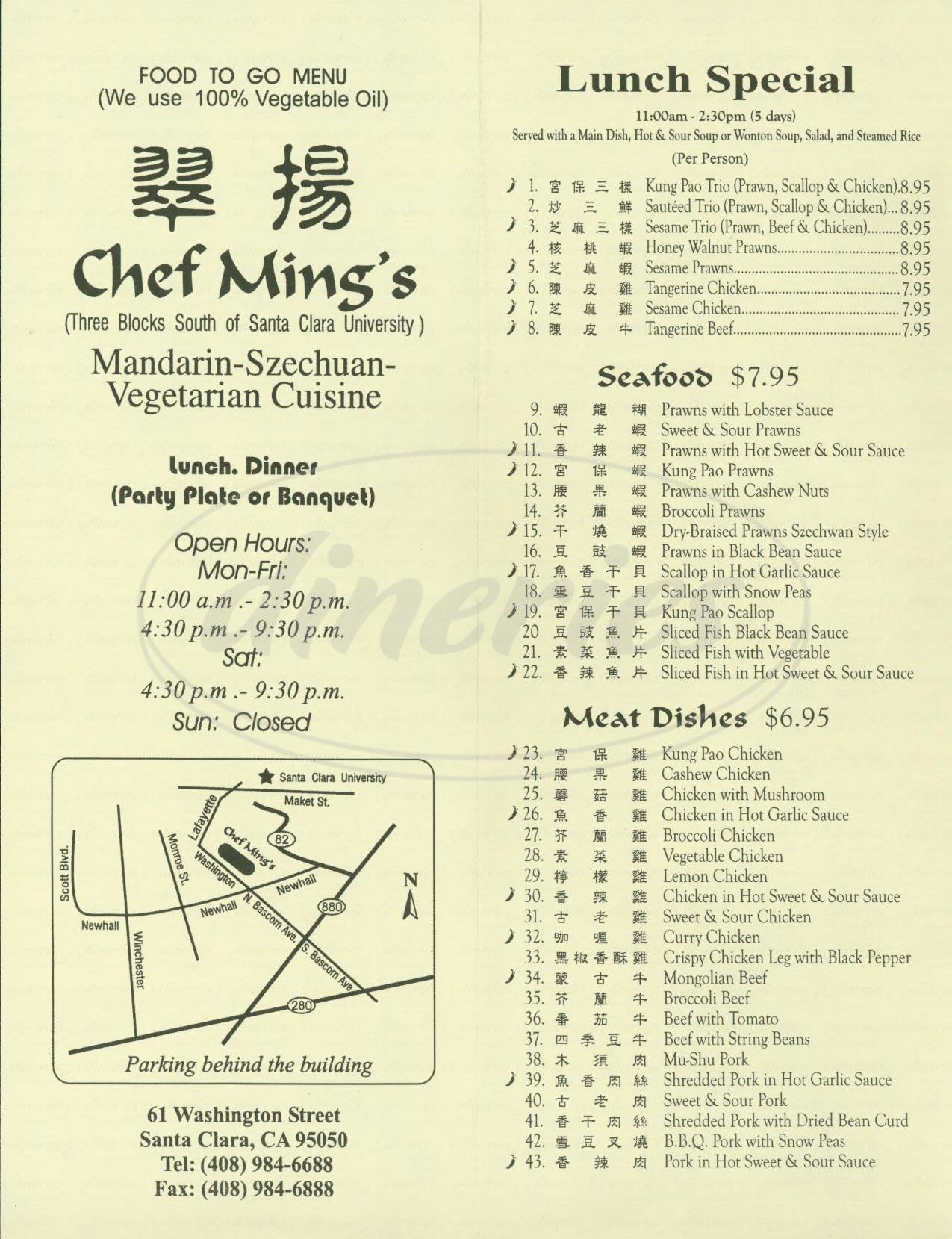 menu for Chef Ming's