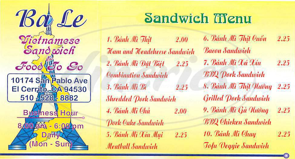 menu for Ba Le Vietnamese Sandwich Deli