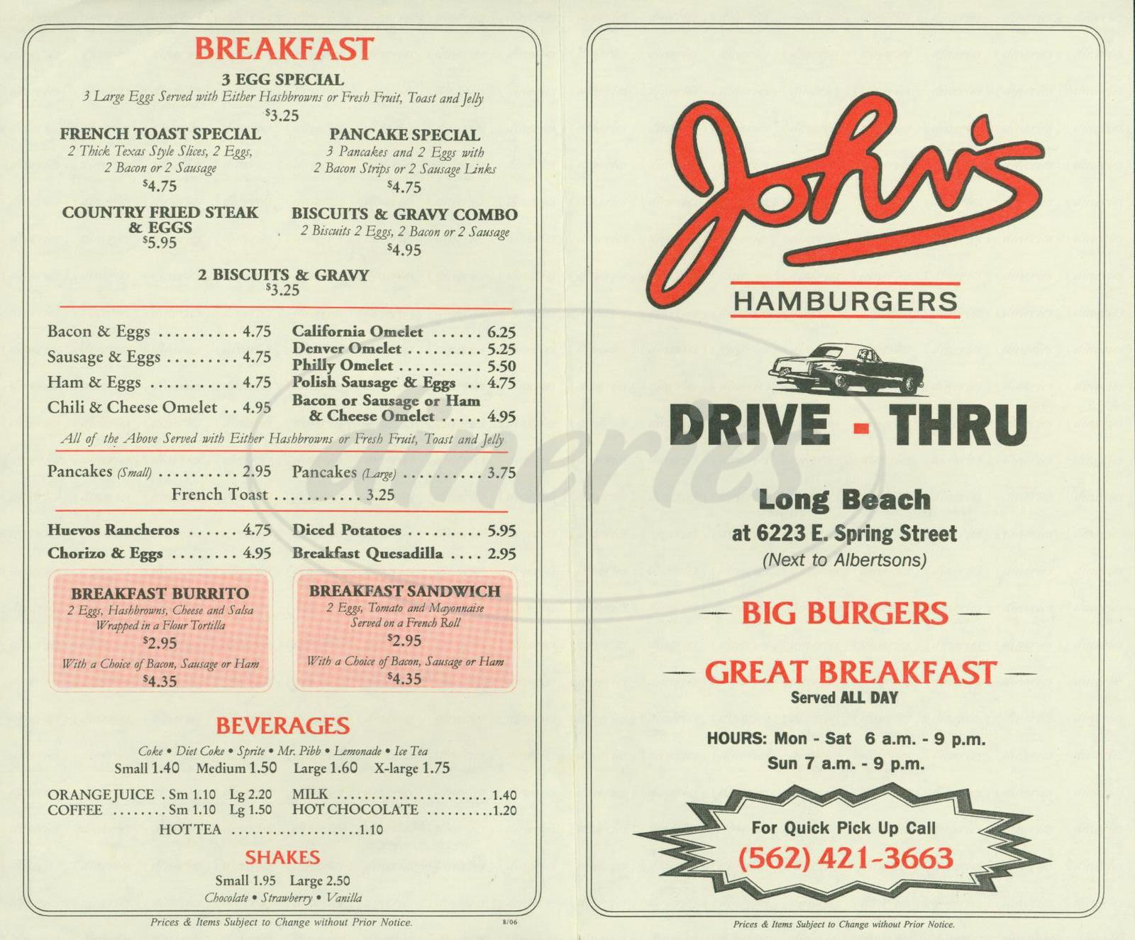 menu for John's Hamburgers