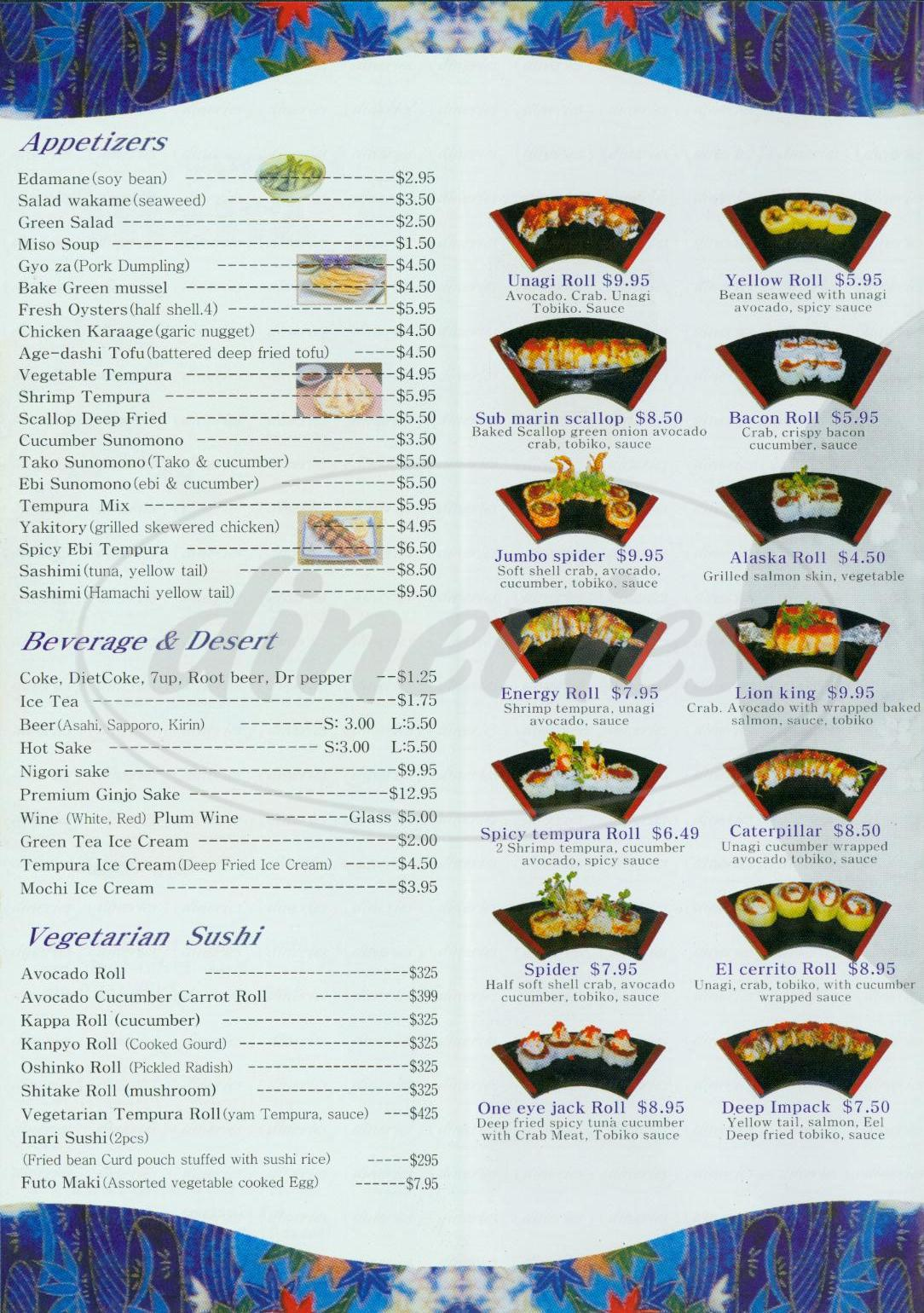 menu for Yammy Sushi