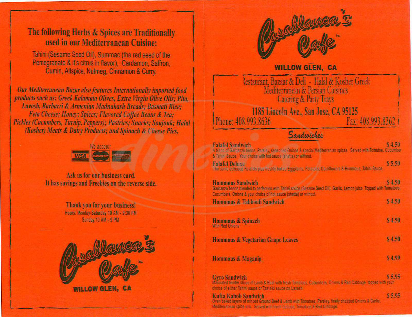 menu for Casablancas Café